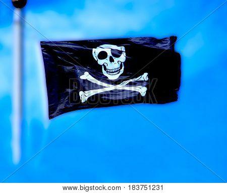 Flying Pirate Flag Skull And Cross Bones