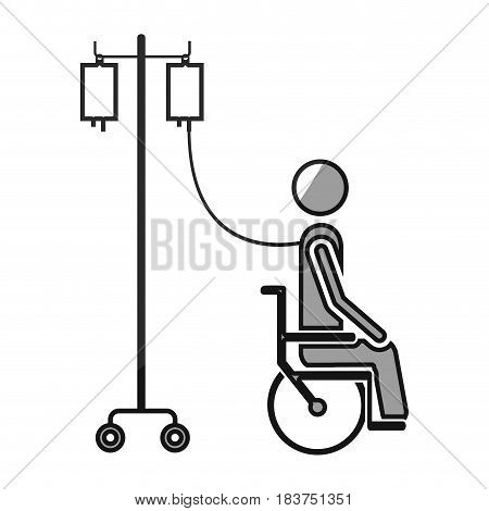grayscale silhouette with pictogram person hospitalized in wheelchair vector illustration