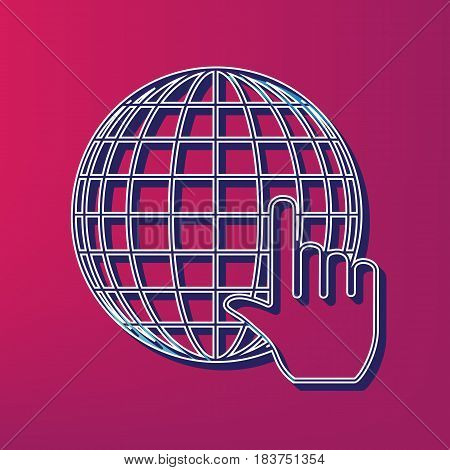 Earth Globe with cursor. Vector. Blue 3d printed icon on magenta background.