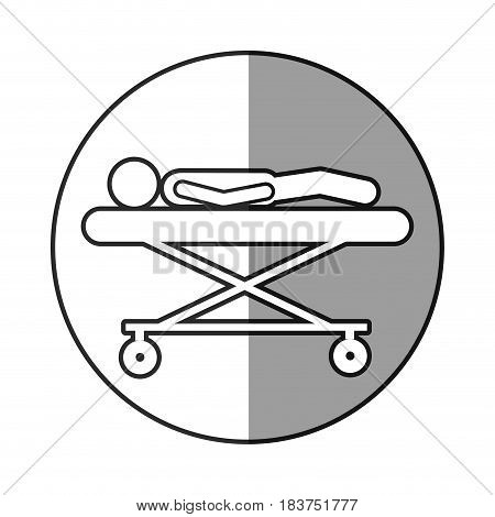 grayscale circular frame shading with pictogram lay down patient in stretcher clinical vector illustration