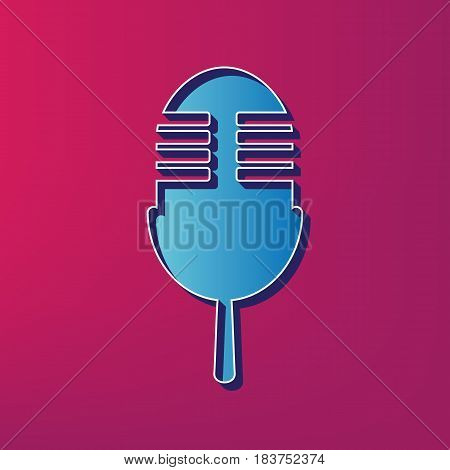 Retro microphone sign. Vector. Blue 3d printed icon on magenta background.