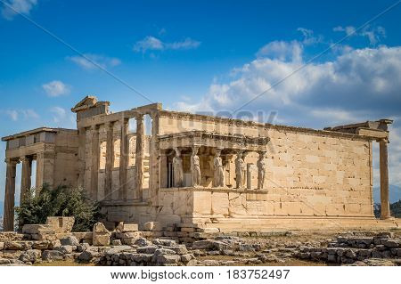 The Porch of the Caryatids at the Erechtheion on the Acropolis of Athens Greece view.