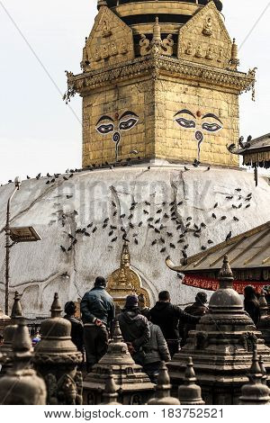 Eyes of Buddah on the temple wall