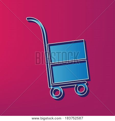 Hand truck sign. Vector. Blue 3d printed icon on magenta background.