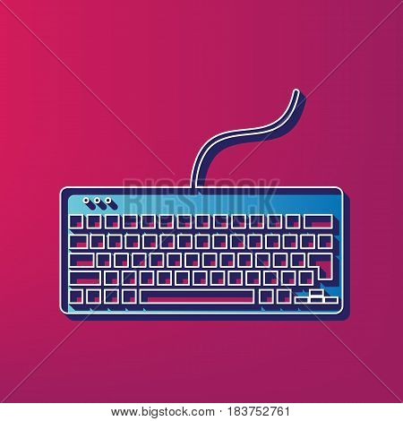Keyboard simple sign. Vector. Blue 3d printed icon on magenta background.
