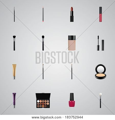 Realistic Pomade, Brow Makeup Tool, Powder Blush And Other Vector Elements. Set Of Cosmetics Realistic Symbols Also Includes Nail, Makeup, Eye Objects.
