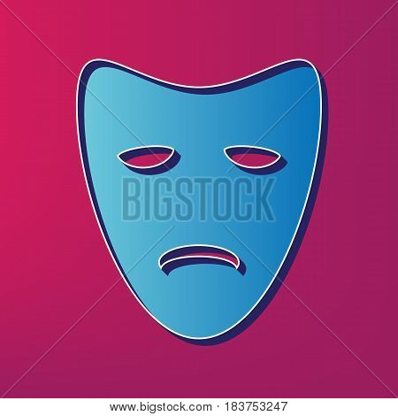 Tragedy theatrical masks. Vector. Blue 3d printed icon on magenta background.