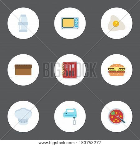Flat Omelette, Spice, Broth And Other Vector Elements. Set Of Kitchen Flat Symbols Also Includes Omelette, Salt, Broth Objects.