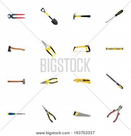 Realistic Spade, Scissors, Plumb Ruler And Other Vector Elements. Set Of Kit Realistic Symbols Also Includes Ax, Tool, Shear Objects.
