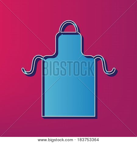 Apron simple sign. Vector. Blue 3d printed icon on magenta background.