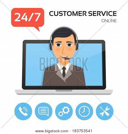 Customer service.Technical support call center concept with male operator on the laptop screen. Vector illustration.