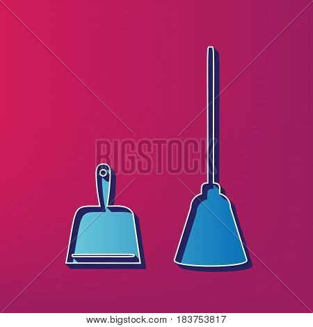Dustpan vector sign. Scoop for cleaning garbage housework dustpan equipment. Vector. Blue 3d printed icon on magenta background.