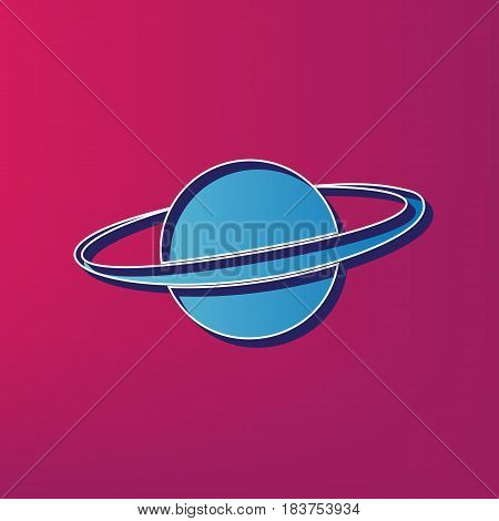 Planet in space sign. Vector. Blue 3d printed icon on magenta background.