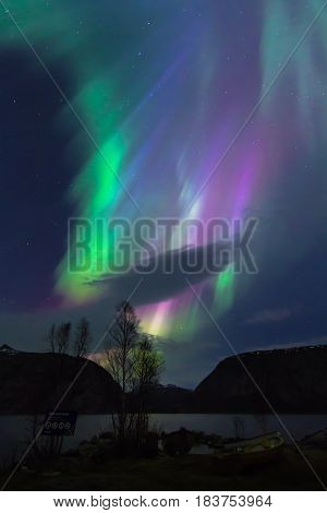 Great Norther Lights activity on 17.03.2015 . Pictures made at Regnarvatnet lake Strand Rogaland Norway.