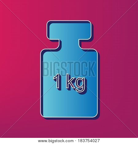 Weight simple sign. Vector. Blue 3d printed icon on magenta background.