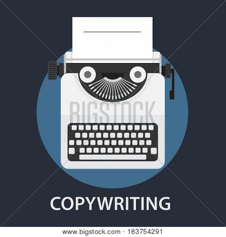 Flat Typewriter with Blank Paper Illustration. Copywriting Concept