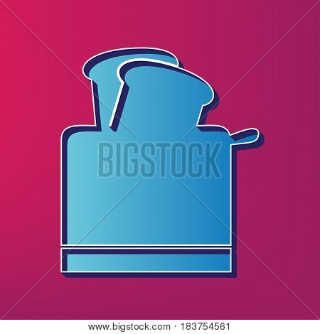 Toaster simple sign. Vector. Blue 3d printed icon on magenta background.
