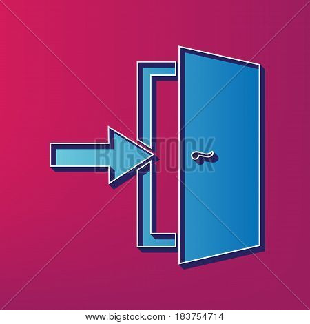 Door Exit sign. Vector. Blue 3d printed icon on magenta background.