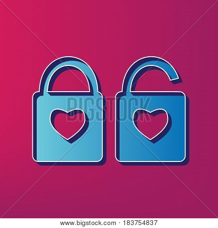 lock sign with heart shape. A simple silhouette of the lock. Shape of a heart. Vector. Blue 3d printed icon on magenta background.