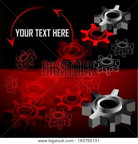 Industrial background with gear wheel. Place for text. Vector illustration