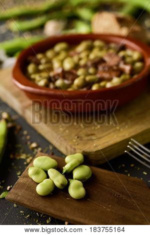 closeup of an earthenware bowl with habas a la catalana, a spanish recipe of broad beans, on a rustic wooden table