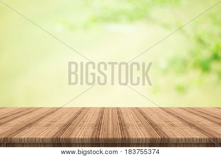 wood coordination table top on nature background,Space available for the product