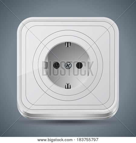White plastic square electric outlet realistic vector icon