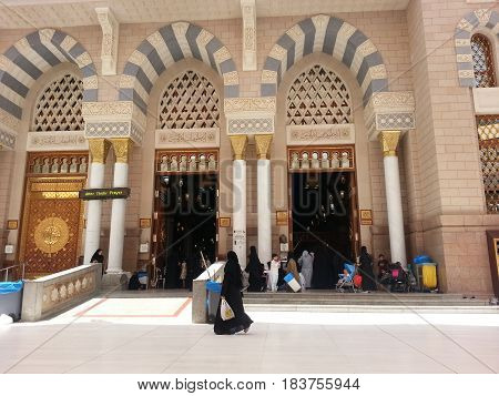 MADINAH, SAUDI ARABIA - AUGUST 22: View of women entrance to the Prophet Muhammad Mosque on August 22, 2015 in Madinah, Saudi Arabia.