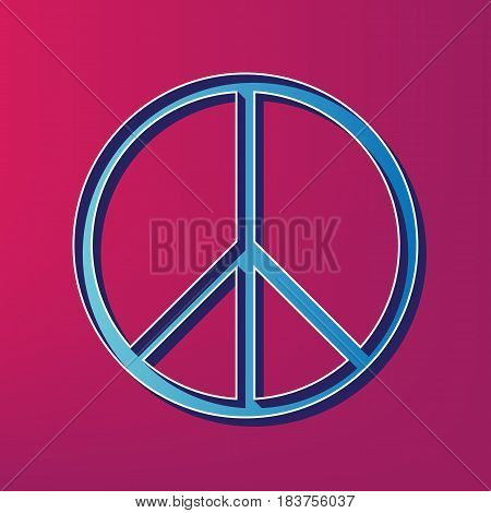 Peace sign illustration. Vector. Blue 3d printed icon on magenta background.