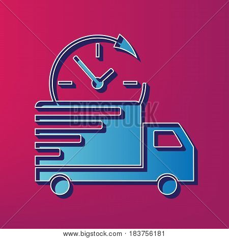 Delivery sign illustration. Vector. Blue 3d printed icon on magenta background.