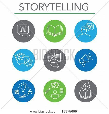 Storytelling Icon Set with Speech Bubbles and Books