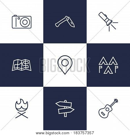 Set Of 9 Adventure Outline Icons Set.Collection Of Encampment, Photographing, Guitar And Other Elements.
