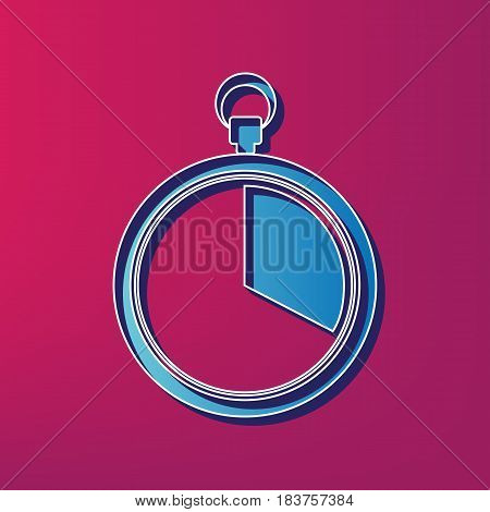 The 20 seconds, minutes stopwatch sign. Vector. Blue 3d printed icon on magenta background.