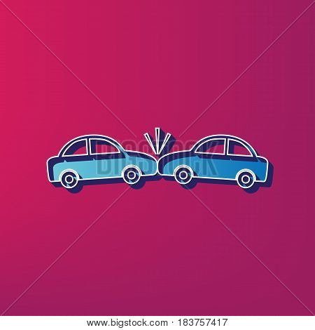 Crashed Cars sign. Vector. Blue 3d printed icon on magenta background.