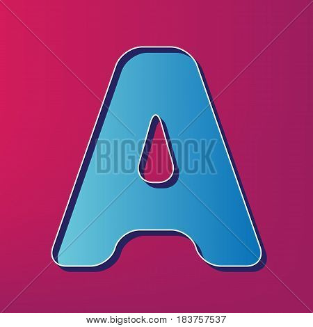 Letter A sign design template element. Vector. Blue 3d printed icon on magenta background.