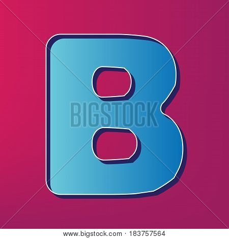 Letter B sign design template element. Vector. Blue 3d printed icon on magenta background.