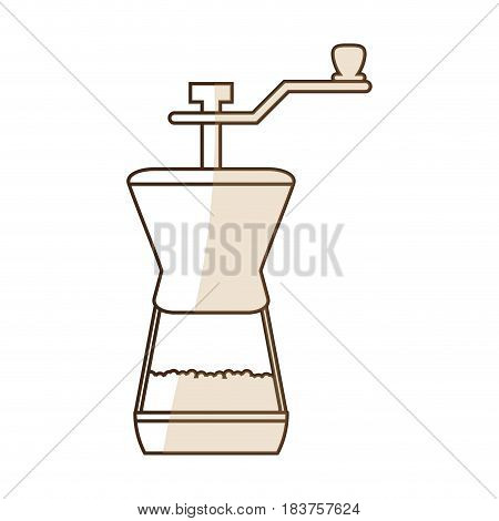 brown silhouette shading coffee grinding jar with crank vector illustration