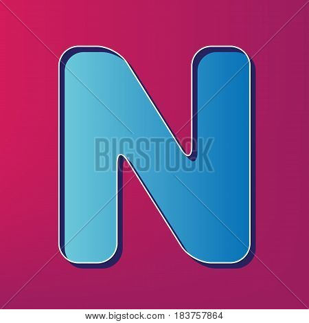 Letter N sign design template element. Vector. Blue 3d printed icon on magenta background.