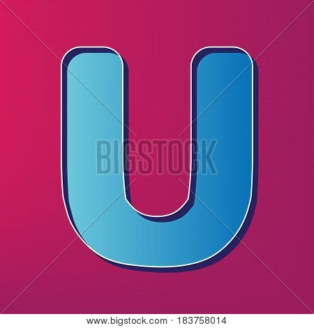 Letter U sign design template element. Vector. Blue 3d printed icon on magenta background.