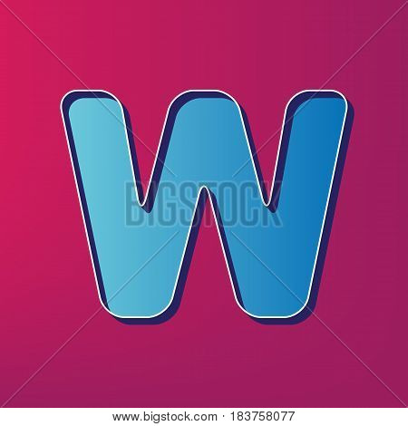 Letter W sign design template element. Vector. Blue 3d printed icon on magenta background.