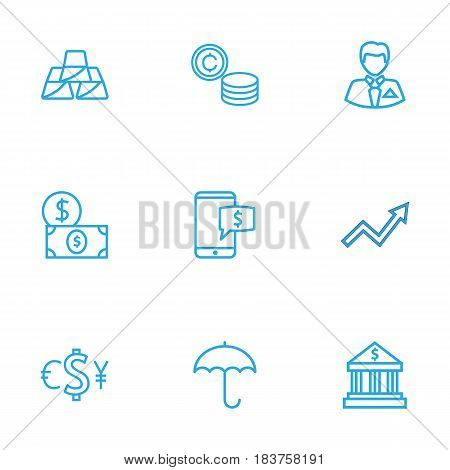Set Of 9 Finance Outline Icons Set.Collection Of Bank, Exchange, Electron Payment And Other Elements.