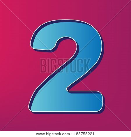 Number 2 sign design template elements. Vector. Blue 3d printed icon on magenta background.
