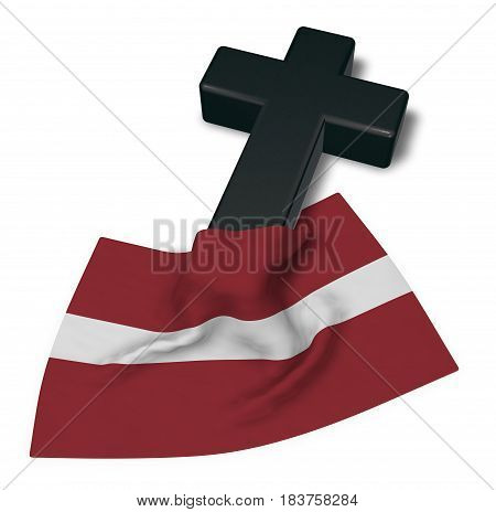 christian cross and flag of latvia - 3d rendering