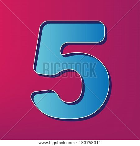 Number 5 sign design template element. Vector. Blue 3d printed icon on magenta background.