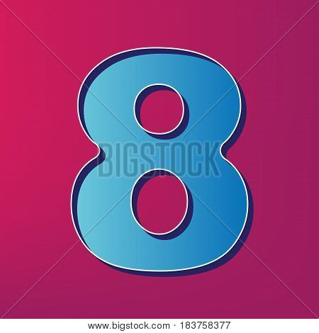 Number 8 sign design template element. Vector. Blue 3d printed icon on magenta background.