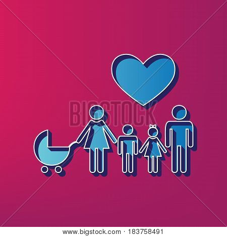 Family sign with heart. Husband and wife are kept children's hands. Vector. Blue 3d printed icon on magenta background.