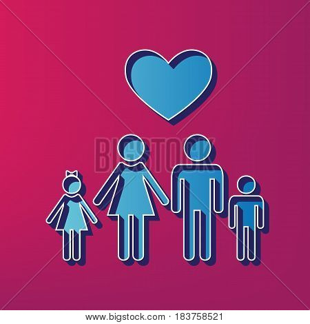 Family symbol with heart. Husband and wife are kept children's hands. Love. Vector. Blue 3d printed icon on magenta background.