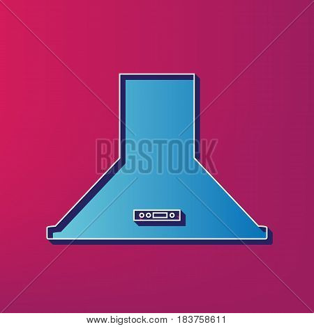 Exhaust hood. Kitchen ventilation sign. Vector. Blue 3d printed icon on magenta background.