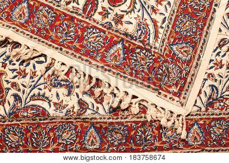 Close up of persian carpets Iranian carpets and rug.