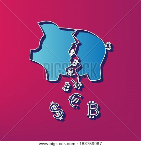 Pig money bank sign. Vector. Blue 3d printed icon on magenta background.